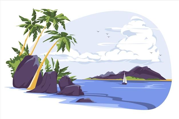 ヤシの木と曇り空の下の海辺のセーリングヨットのある熱帯の風景牧歌的なフラット