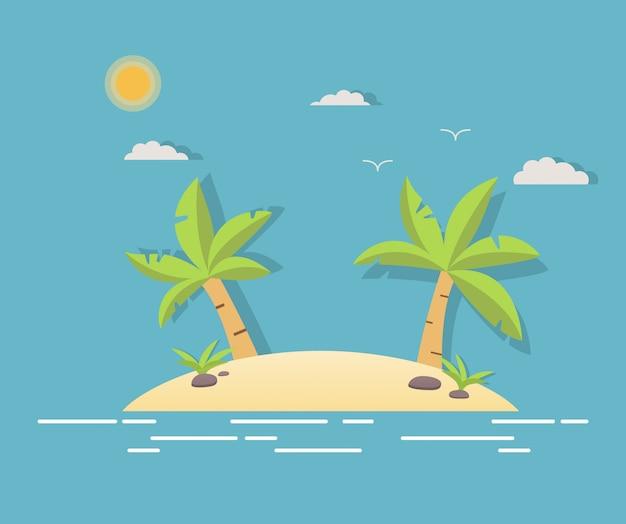 ヤシの木と熱帯の風景。海、砂、太陽、ヤシの木と夏の背景。