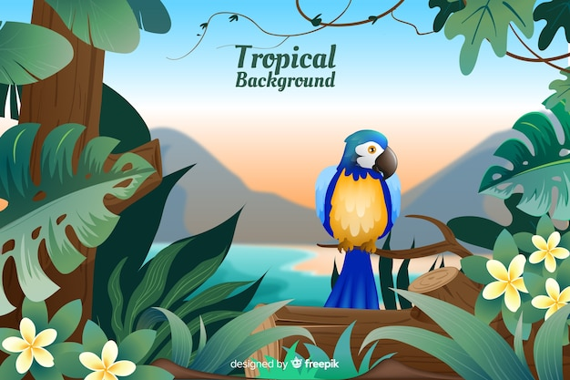 Tropical landscape with parrot background