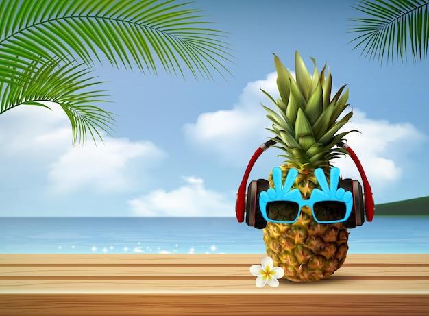 サングラスとヘッドフォンのイラストでパイナップルと熱帯の風景