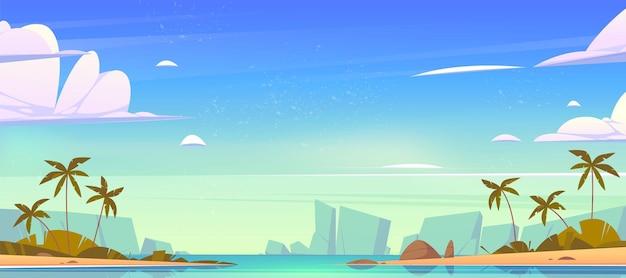 수평선에 바다 베이, 모래 해변, 야자수와 산 열대 풍경