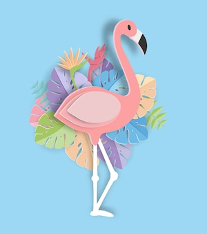 Tropical leaf and Flamingo Summer Banner