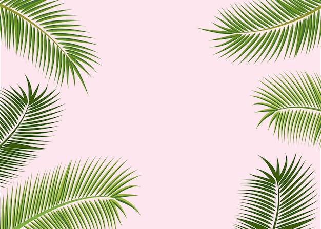 열 대 잎 배경, 유행 텍스트 space.design 포스터, 배너, 웹 사이트, 고립 된 그림