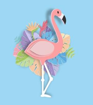 Tropical leaf and flamingo summer banner