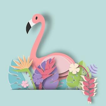 Tropical leaf and flamingo