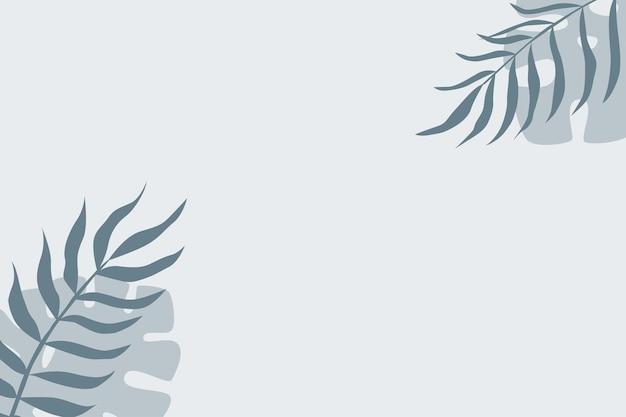 Tropical leaf plant pattern background. blue colored illustration