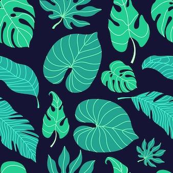 熱帯の葉のシームレスなパターン