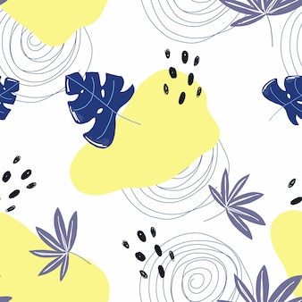 Tropical leaf and shapes pattern
