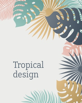 Tropical leaf template in pastel colors.