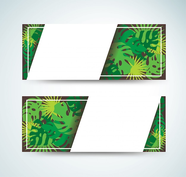 Tropical leafs banner background