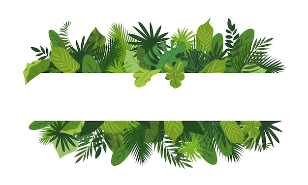 Tropical leafs concept frame, cartoon style