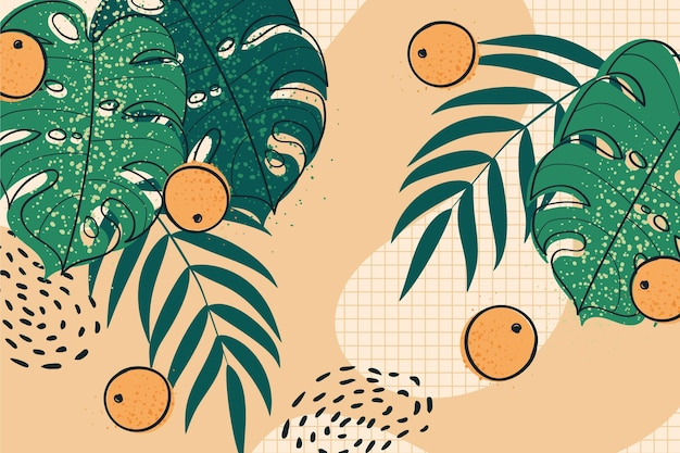 熱帯の葉と柑橘類のズームの背景