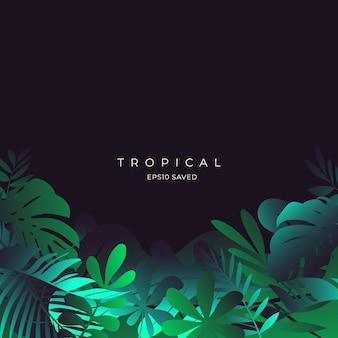 熱帯の葉とカラフルな夏の背景