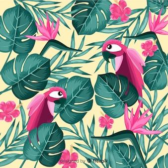 熱帯の葉とエキゾチックな鳥の背景
