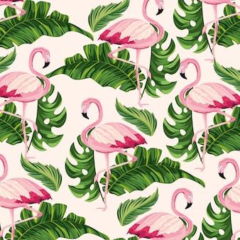 熱帯の葉とフランドル動物の背景
