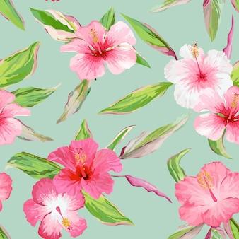 Тропические листья и цветы фон. бесшовный узор в векторе