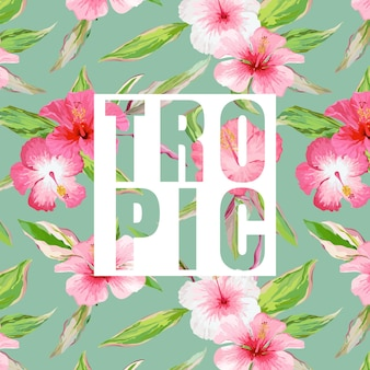 Тропические листья и цветы фон
