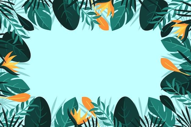 열 대 잎과 꽃 배경