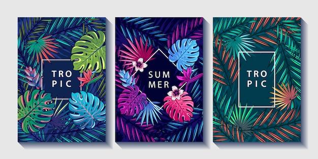 열 대 잎과 꽃 디자인 포스터 세트.