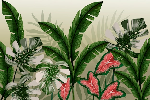 熱帯の葉と花の壁画の壁紙