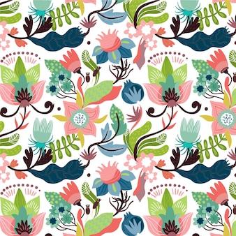 열 대 잎과 꽃 패턴