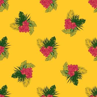 Тропический узор из листьев и цветов