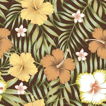 熱帯の葉とハイビスカス