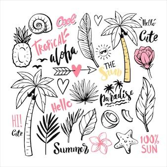 Тропические листья и пальмовое лето каракули.