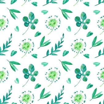 熱帯の葉とサンデュー水彩のシームレスなパターン。ジャングルのエキゾチックな緑