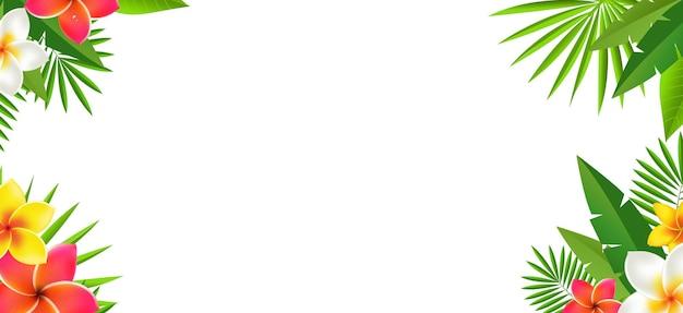 Тропические листья и тропические цветы с белым фоном с градиентной сеткой