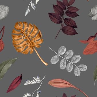 Vettore di disegno di sfondo di foglie tropicali