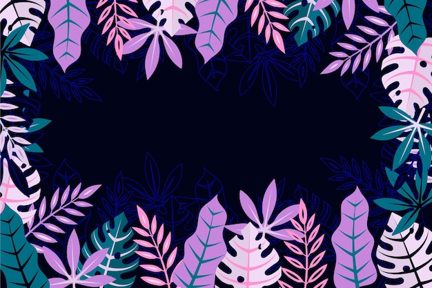 열 대 나뭇잎 배경 디자인