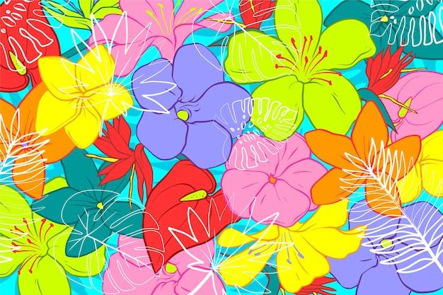 ズームのための熱帯の葉の背景