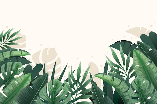 열 대 나뭇잎 배경 확대
