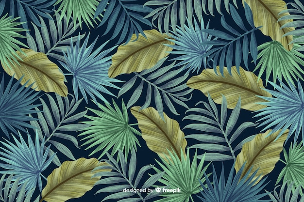 Tropical leaves background hand drawn style