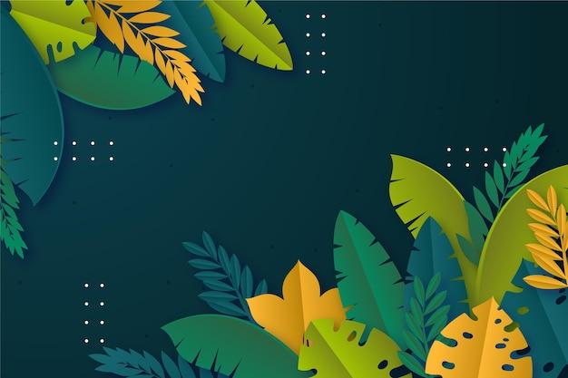 熱帯の葉の背景紙スタイル