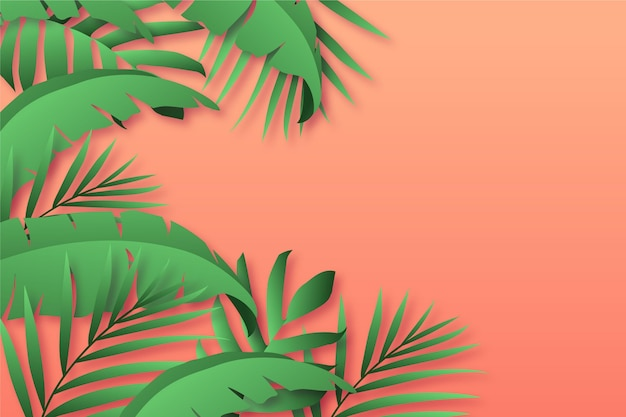 Tropical leaves background in paper style