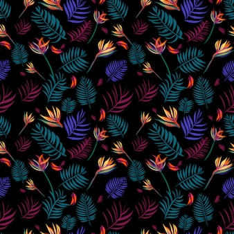 Tropical leaves background seamless pattern