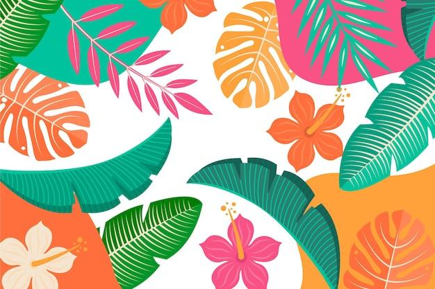 열대 나뭇잎 배경 테마