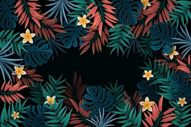 空のスペースで熱帯の葉の背景