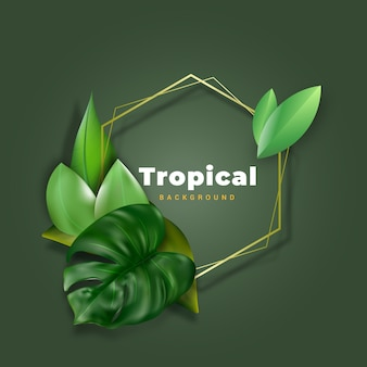 Tropical leaves background with frame