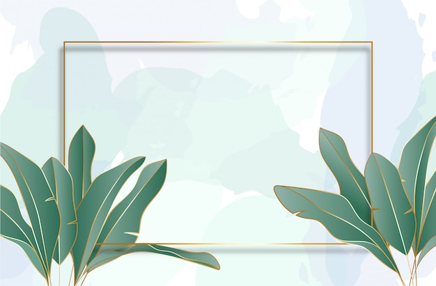 Tropical leaves background with golden frame