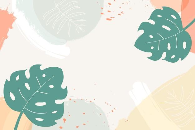 パステルカラーの汚れと熱帯の葉の背景