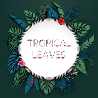 Tropical leaves background with round frame