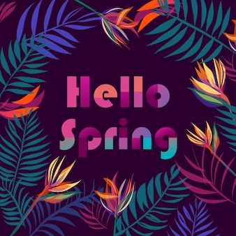 Tropical leaves background with text  hello spring