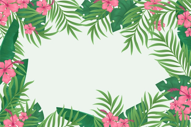 Tropical leaves background for zoom