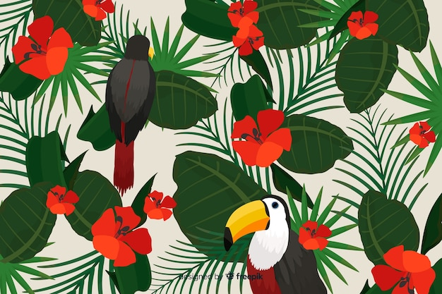 Tropical leaves and birds background