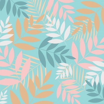Tropical leaves on blue background.