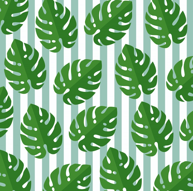 Tropical leaves botanic plants seamless pattern
