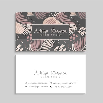 Tropical leaves business cards template